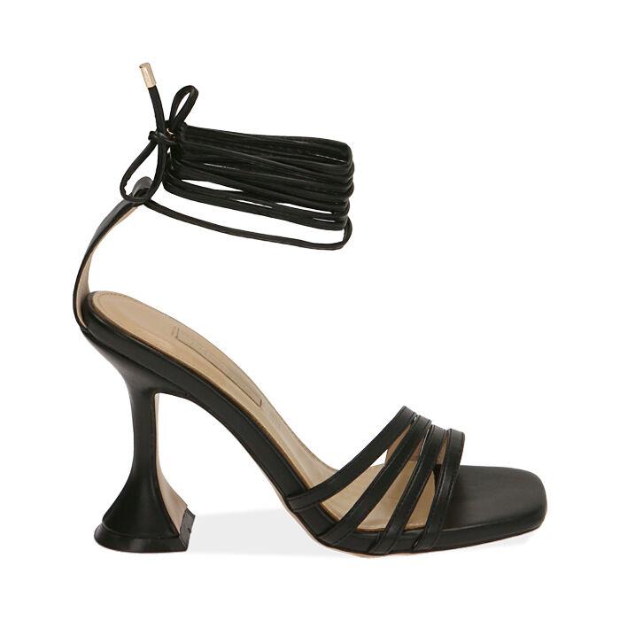 Sandali neri, tacco 10 cm , Primadonna, 172116411EPNERO036