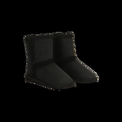 Scarponcini invernali scamosciati neri , 125001041MFNERO036, 002