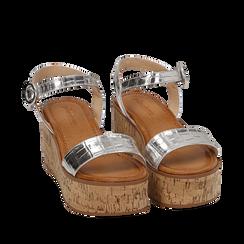Sandales argentées en éco-cuir imprimé crocodile, compensées 7,50 cm, Primadonna, 154967318CCARGE039, 002a