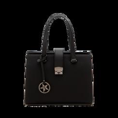 Mini bag nera in ecopelle, Saldi Borse, 125706683EPNEROUNI, 001 preview