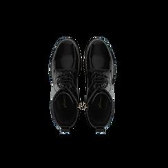 Anfibi vernice neri con lacci, tacco basso, Scarpe, 120609133VENERO, 004 preview