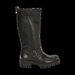 Biker boots neri in eco-pelle, tacco 4,5 cm , Primadonna, 140556613EPNERO035, 001 preview