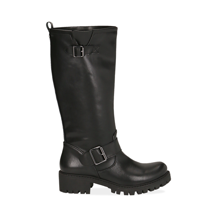 Biker boots neri in eco-pelle, tacco 4,5 cm , Primadonna, 140556613EPNERO035