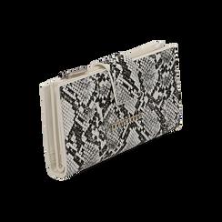 Portafogli bianco/nero stampa pitone, Borse, 155122158PTBINEUNI, 002 preview