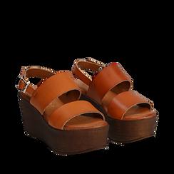 Sandali platform cuoio in eco-pelle, zeppa 8 cm, Saldi, 136700012EPCUOI035, 002a