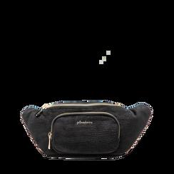Marsupio nero in velluto, Saldi Borse, 125921084VLNEROUNI, 001a