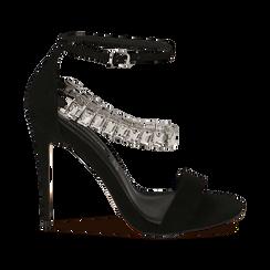 Sandali neri in microfibra con pietre, tacco 11,50 cm, OUTLET, 152101028MFNERO035, 001 preview