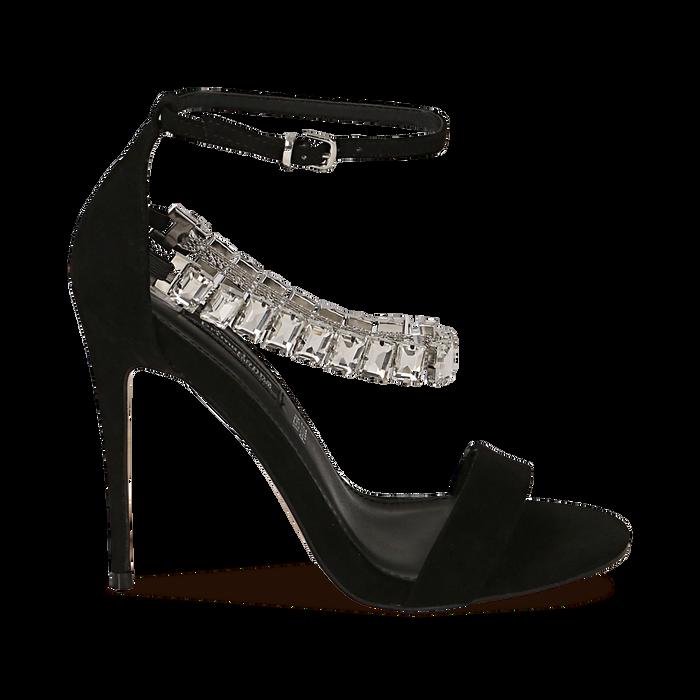 Sandali neri in microfibra con pietre, tacco 11,50 cm, OUTLET, 152101028MFNERO035
