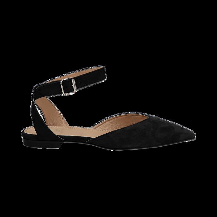 Nuovi Prodotti c4592 cf452 Ballerine nere in camoscio con cinturino alla caviglia