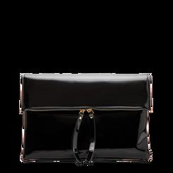 Pochette bustina nera in ecopelle vernice, Primadonna, 123308136VENEROUNI, 001a