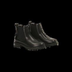 Chelsea Boots neri con tmini-borchie, Scarpe, 120682911EPNERO035, 002
