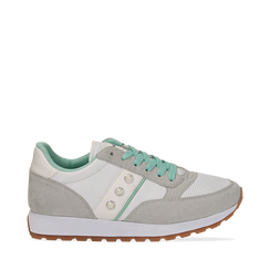 Sneakers bianco-grigie in microfibra con perle, Scarpe, 132619079MFBIGR041, 001a