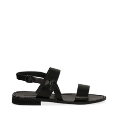 Sandali flat neri in pelle, Primadonna, 138102005VANERO035, 001a