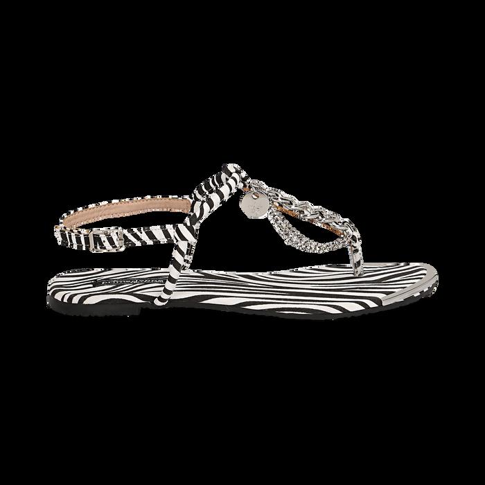 Sandali infradito flat zebra print in microfibra, con catenelle, Primadonna, 134909285MFZEBR036