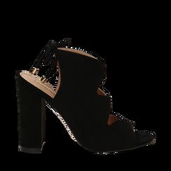 Sandali neri in microfibra con allacciatura alla caviglia, tacco 10,5 cm, Scarpe, 132760824MFNERO035, 001a