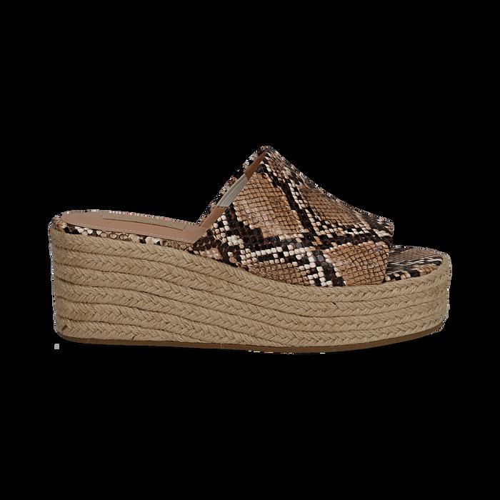 Zeppe platform beige in eco-pelle, effetto snake skin, zeppa in corda 7 cm, Primadonna, 132708151PTBEIG035