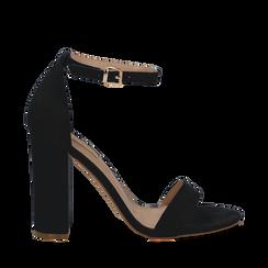 Sandali neri in microfibra, tacco 10,50 cm, Scarpe, 132706086MFNERO036, 001a