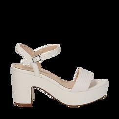 Sandali con plateau bianchi in eco-pelle, tacco 9 cm , Sandali con tacco, 138402256EIBIAN037, 001a
