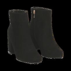 Ankle boots neri in microfibra, tacco 7,5 cm , Stivaletti, 142762715MFNERO035, 002 preview