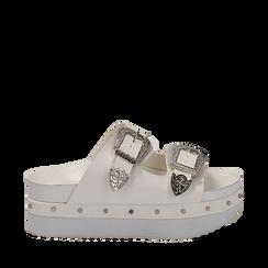 Zeppe platform bianche in eco-pelle con fibbie e borchie, zeppa 6 cm, Primadonna, 112008782EPBIAN038, 001a