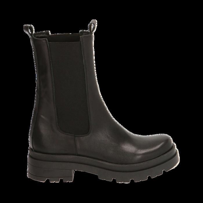 Botines Chelsea negro en piel, tacón 5 cm, Primadonna, 167277044PENERO035