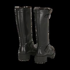 Biker boots neri in eco-pelle, tacco 4,5 cm , Primadonna, 140556613EPNERO035, 003 preview