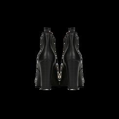 Chelsea Boots neri con plateau e tacco 9,5 cm, Scarpe, 128401247EPNERO, 003 preview