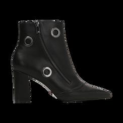 Tronchetti neri con oblò metallo e zip, tacco 7 cm, Scarpe, 128405081EPNERO, 001 preview