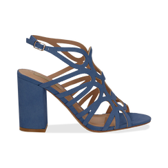 Sandali cage azzurri in microfibra, tacco 10 cm,