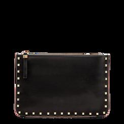 Clutch nera in ecopelle con profilo mini-borchie, Saldi, 123308330EPNEROUNI, 001a