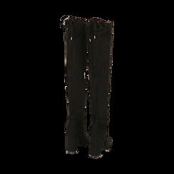 Overnkee neri in microfibra, tacco 10,50 cm , Stivali, 142186948MFNERO037, 003 preview