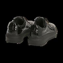 Sneakers nere in vernice effetto coccodrillo, suola 4 cm , Scarpe, 142019051VENERO037, 004 preview