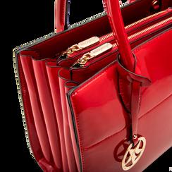 Borsa a mano rossa in ecopelle vernice, Saldi, 125786379VEROSSUNI, 004 preview