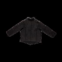 Giacca nera corta in eco-montone, Saldi, 12B408605MFNEROS, 006 preview