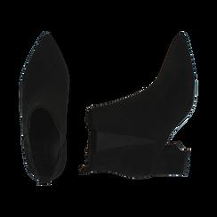 Ankle boots neri in microfibra, tacco 6 cm , Primadonna, 164931531MFNERO036, 003 preview