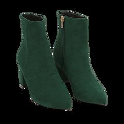 Ankle boots verdi microfibra, tacco 6 cm, Stivaletti, 144916811MFVERD035, 002a