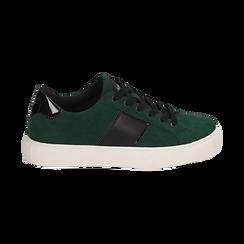 Sneakers verdi in microfibra, Scarpe, 142619071MFVERD036, 001 preview