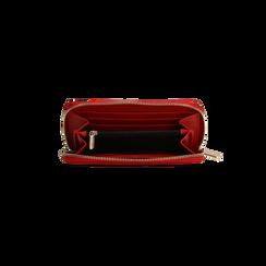 Portafoglio rosso in ecopelle vernice con 10 vani, Borse, 125709023VEROSSUNI, 004 preview