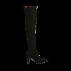 Botas oveknee negro en microfibra, tacón 9 cm, Primadonna, 162183365MFNERO036, 001a