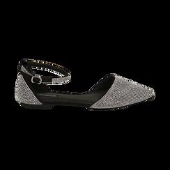Bailarinas con brillantes de microfibra en color negro, Zapatos, 154968041MPNERO037, 001 preview