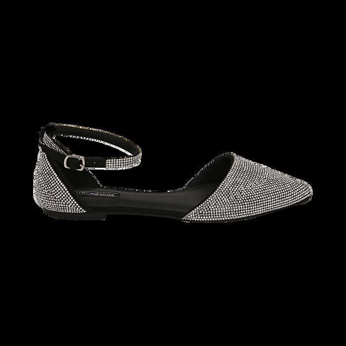 Bailarinas con brillantes de microfibra en color negro, Zapatos, 154968041MPNERO037