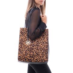 Maxi bag leopard in microfibra , Primadonna, 142900004MFLEOPUNI, 002a