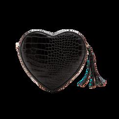Borsa a tracolla nera forma a cuore, in ecopelle stampa coccodrillo, Borse, 125921719CCNEROUNI, 002 preview