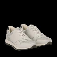 Sneakers bianche glitter, Scarpe, 130619672GLBIAN035, 002a