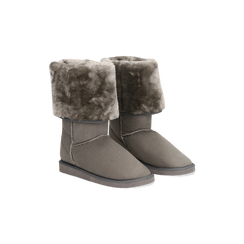 Scarponcini invernali scamosciati grigi con risvolto in eco-fur, Scarpe, 125001204MFGRIG036, 002