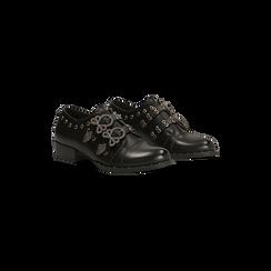 Flat con fibbia nera e borchiette, 129306611EPNERO037, 002