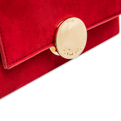 Pochette bordeaux in microfibra scamosciata chiusura frontale gold, Saldi Borse, 123308437MFBORDUNI, 004 preview