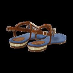 Sandali infradito flat azzurri in microfibra con catenelle, Scarpe, 134909952MFAZZU036, 004 preview
