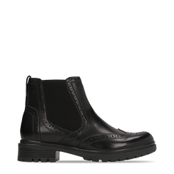 Chelsea Boots Eleganti in Pelle Nera, Scarpe, 127710620PENERO035, 001a