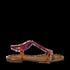 Sandali fucsia/arancio effetto specchio, Primadonna, 134929185SPFUAR035, 001a